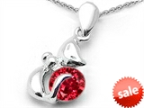 Original Star K™ Round 6mm Created Ruby Cat Pendant