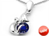 Original Star K™ Round 6mm Created Sapphire Cat Pendant