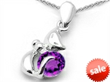 Original Star K™ Round Genuine Amethyst Cat Pendant style: 303041