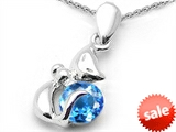 Original Star K™ Round 6mm Genuine Blue Topaz Cat Pendant style: 303045