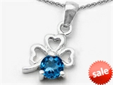 Celtic Love by Kelly™ Round Genuine Blue Topaz Lucky Clover Pendant