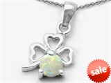 Celtic Love by Kelly Round Simulated Opal Lucky Clover Pendant style: 303048