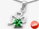Celtic Love by Kelly Round Simulated Emerald Lucky Clover Pendant style: 303050