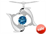 Original Star K™ Round Genuine 6mm Blue Topaz Dolphin Pendant style: 303052