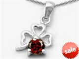 Celtic Love by Kelly Round Genuine Garnet Lucky Clover Pendant