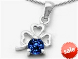 Celtic Love by Kelly Round Created Sapphire Lucky Clover Pendant style: 303055