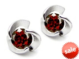 Original Star K™ Round 6mm Genuine Garnet Flower Earring Studs