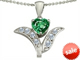 Original Star K™ Simulated Emerald Flower With 7mm Heart Pendant