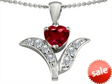 Original Star K™ Created Ruby Flower With 7mm Heart Pendant