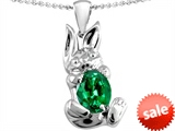 Original Star K™ Bunny Of Love Pendant With Oval 10x8 Simulated Emerald