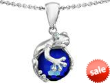 Star K™ Frog Pendant Necklace With 10mm Simulated Sapphire Ball style: 303111