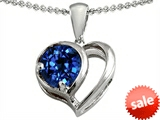 Original Star K™ Heart Shape Pendant With Round Created Sapphire