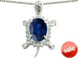 Original Star K™ Good Luck Turtle Pendant With Oval 12x10mm Created Sapphire style: 303137