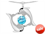 Original Star K™ Round 6mm Simulated Aquamarine Dolphin Pendant style: 303140