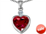 Original Star K™ Heart Shape 10mm Created Ruby Heart Pendant