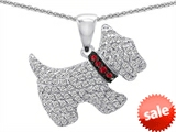 Original Star K™ Dog Pendant With Round Created Ruby And Cubic Zirconia style: 303156