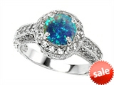 Original Star K™ 7mm Round Created Blue Opal Engagement Ring style: 303159