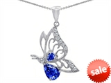 Original Star K™ Butterfly Pendant With Pear Shape Created Sapphire