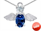 Original Star K™ Angel Of Love Protection Pendant With Oval 8x6mm Created Sapphire. style: 303218