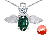 Original Star K™ Angel Of Love Protection Pendant Made With Oval 8x6mm Simulated Emerald