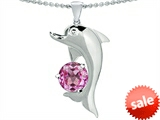 Original Star K™ Round 7mm Created Pink Sapphire Good Luck Dolphin Pendant style: 303251