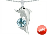 Original Star K™ Round 7mm Simulated Aquamarine Good Luck Dolphin Pendant