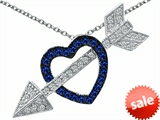 Original Star K™ Created Sapphire Heart With Love Arrow Pendant