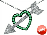 Original Star K™ Simulated Emerald Heart With Love Arrow Pendant