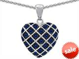 Original Star K™ Created Sapphire Puffed Heart Pendant style: 303272