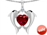 Original Star K™ Kissing Love Dolphins Pendant With 8mm Heart Shape Created Ruby style: 303284
