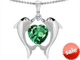 Original Star K™ Kissing Love Dolphins Pendant With 8mm Heart Shape Simulated Emerald style: 303288
