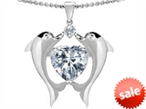 Original Star K™ Kissing Dolphins Pendant With 8mm Heart Shape Genuine White Topaz