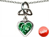 Celtic Love by Kelly Love Knot Pendant with Heart 9mm Simulated Emerald