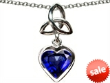 Celtic Love by Kelly Love Knot Pendant with Heart 9mm Created Sapphire