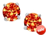 Original Star K™ Round 7mm Simulated Orange Mexican Fire Opal Earrings Studs style: 303305
