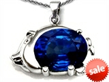 Original Star K™ Lucky Pig Pendant With Oval Created Blue Sapphire