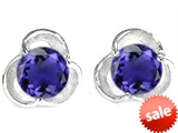 Original Star K™ Round 6mm Simulated Tanzanite Flower Earring Studs