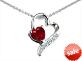 Original Star K™ 7mm Heart Shape Created Ruby Heart Pendant