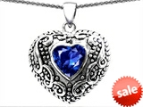 Original Star K™ Bali Style Puffed 7mm Heart Hand Finished Created Sapphire Pendant