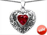 Original Star K™ Bali Style Puffed 7mm Heart Hand Finished Created Ruby Pendant