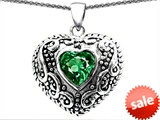 Original Star K™ Bali Style Puffed 7mm Heart Hand Finished Simulated Emerald Pendant style: 303349