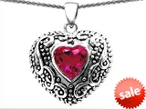 Original Star K™ Bali Style Puffed 7mm Heart Hand Finished Created Pink Sapphire Pendant style: 303351