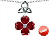 Lucky Shamrock With Celtic Knot, Made With Heart 6mm Created Ruby Celtic Love by Kelly style: 303357