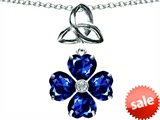 Lucky Shamrock With Celtic Knot, Made With Heart 6mm Created Sapphire Celtic Love by Kelly