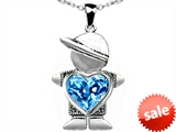 Original Star K™ Little Boy Holding 8mm Heart Mother Birthstone Pendant with Genuine Blue Topaz