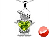 Original Star K™ Boy Holding 8mm Mother Heart August Birthstone Pendant with Simulated Peridot