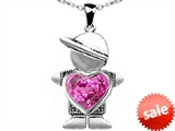 Original Star K™ Boy Holding 8mm Mother Heart September Birthstone Pendant with Created Pink Sapphire