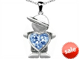 Original Star K™ Boy Holding 8mm Mother Heart March Birthstone Pendant with Simulated Aquamarine style: 303392