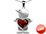 Original Star K™ Boy Holding 8mm Mother Heart January Birthstone Pendant with Simulated Garnet