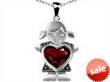 Original Star K™ Girl Holding 8mm Mother Heart January Birthstone Pendant with Simulated Garnet style: 303396